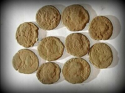 10 ANCIENT ROMAN COINS AE3 - Uncleaned and As Found! - Unique Lot 31419