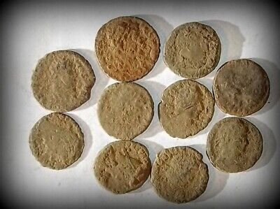 10 ANCIENT ROMAN COINS AE3 - Uncleaned and As Found! - Unique Lot 31421