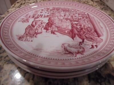 Spode Williams-Sonoma St. Nick window shopping salad/dessert plates mint in box!