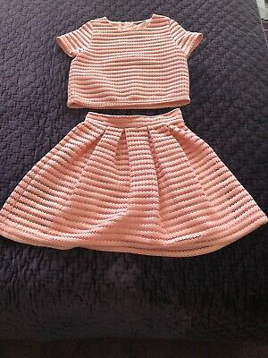 MATALAN Girls Coral  2 Piece Skirt And Top Set Outfit 11 Years Wedding Party