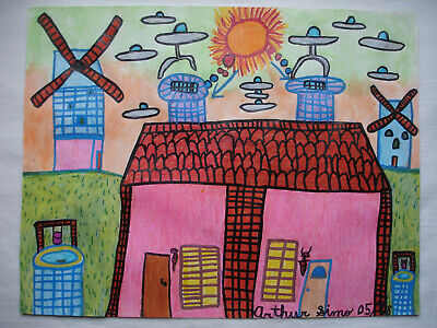 Original Folk Art Outsider Naive painting by Arthur Simo-2008-Electricity Water