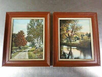 2 Sawyer Hand Colored Photograph Print Pictures A New England Road The Afterglow