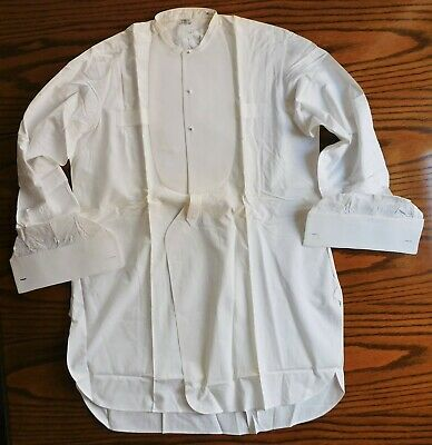 Starched Marcella tunic shirt Index size 15 collarless vintage 1930s mens wear