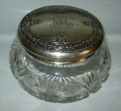 Antique Cut Crystal Powder Puff Jar Sterling Silver Repouse Lid Gorham