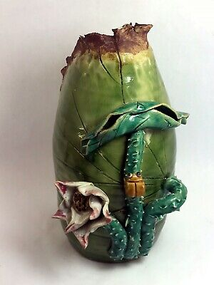 Asian Oriental Japan Sumida Gawa Vase Lilly Lotus Flower Bug Marked 12""