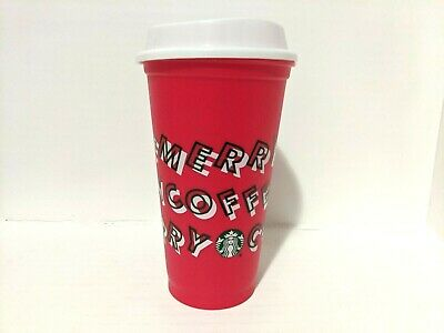 Starbucks Holiday Christmas 2019 Merry Coffee Reusable Red Hot Tumbler Cup 16oz