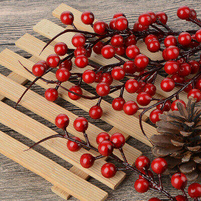 Red Plaster Party Garland Holly Berry Branch Artifical Berries Decoration 5Pcs