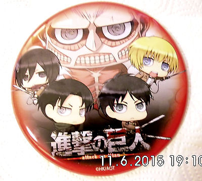 BIG Button Anime Manga Attack on Titan High School chibi eren levi Hajime JAPAN