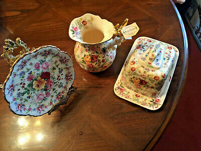 Kay Lowe Handmade Plate, Jug and Butter Dish  with lid Set of 3