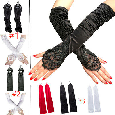 1 Pair Fashion Women's Lace Long Gloves Beading Stretch Fingerless Retro Gloves