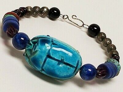 Vintage Egyptian Faience Turquoise Clay Scarab Lapis Sterling Bead Bracelet