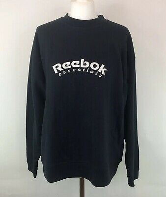 Vintage 90s Reebok Sweater Blue Spell Out Retro Mod Crew Neck Sz 14 UK Womens