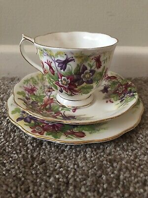 Royal Albert Cup, Saucer and plate - Columbine pattern