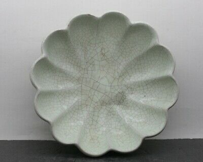 Wonderful Antique Chinese Guan Yao 官窑 Crackle Drip Glaze Scallop Bowl