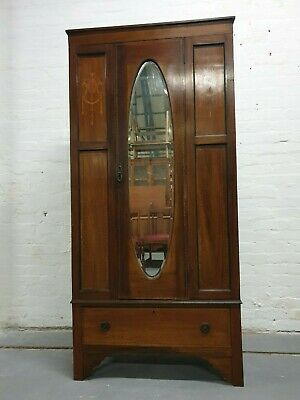 Antique Edwardian Inlaid Mahogany Single Bedroom Wardrobe