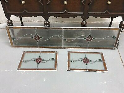 Salvaged Vintage Stained Glass Leaded Bay Window Panels