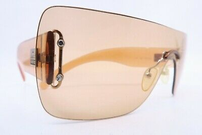 Vintage Gucci sunglasses clear orange Mod GG 1194/N/S shield visor Italy