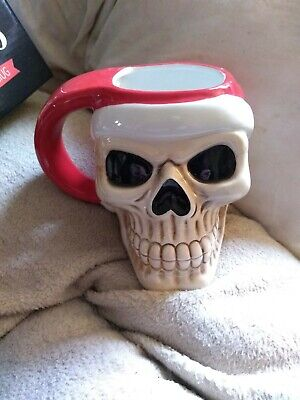 Jingle Bones large Skull Head Shaped Mug Novelty Xmas Fun Gift 11x12x14cm