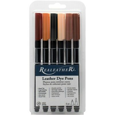 Realeather Crafts Leather Markers 6/pkg-earthtones