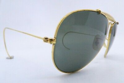 Vintage B&L Ray Ban aviator sunglasses etched BL size 58-14 w/coil arms USA ****