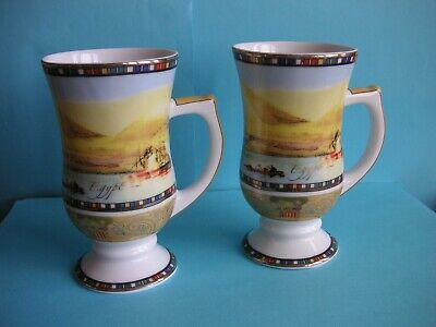 TWO FATHI MAHMOUD FM Limoges Coffee Cups with Egyptian scenes.