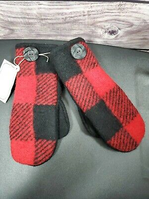 SWEATER MITTENS Handmade from RECYCLED WOOL SWEATER w/FLEECE LINING Red/Black