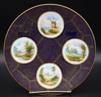 "E J Bodley English Hand Painted Aesthetic Period Cobalt Blue & Gold 9"" Plate"