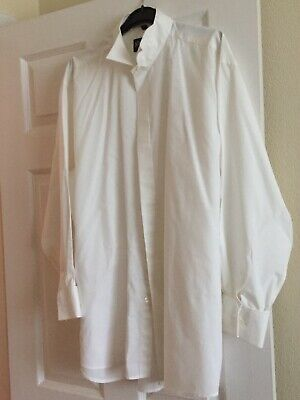 """White Wedding Shirt with Wing Tip Collar Size 17.5"""" - Worn Once"""