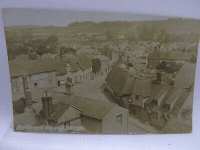 Vintage postcard BIRDS  EYE VIEW OF Linton,  Cambridgeshire. REAL PHOTO