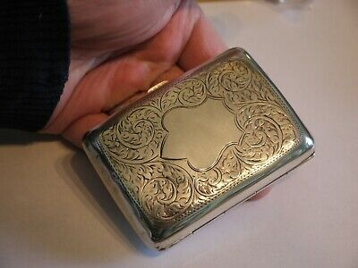 V Nice Antique Hallmarked 1919 Curved Solid Sterling Silver Cigarette Case 68Grm