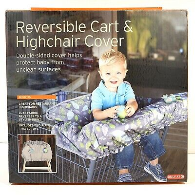 Reversible Cart and Highchair Cover Eddie Bauer First Adventure Gray Green Leaf