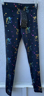 $58 NWT Zara Terez Blk with Rainbow Unicorn and Star Girls Leggings