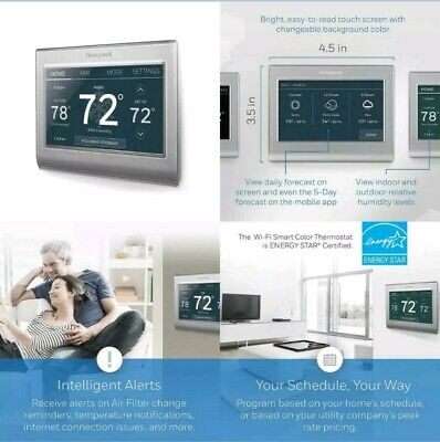 Honeywell Home Wi-Fi Smart Color Programmable Thermostat, Pack of 1, Gray