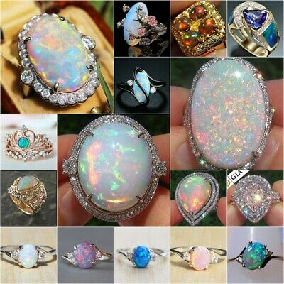 925 Silver Ring Woman Men White Fire Opal Wedding Engagement Jewelry Size 6-10