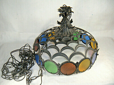 Swag Hanging Light Wrought Iron & panel stained glass