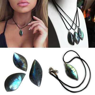 Natural Labradorite Crystal Pendant Necklace Moonstone Healing Gifts Unisex
