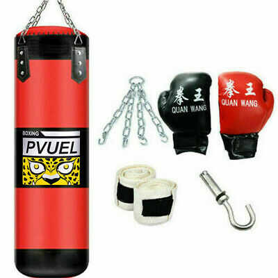 Punching Bag Heavy Boxing Training Gloves Speed Set Kicking MMA Workout Empty