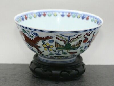 Fantastic Vintage Chinese Porcelain Hand Painted Doucai 抖彩 Porcelain Bowl 1960s