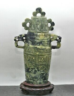 Exqusitie Antique Chinese Hand Carved Soapstone Lidded Censer Rosewood Stand