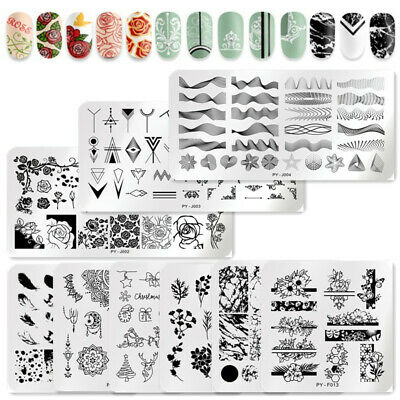 PICT YOU Nail Stamping Plates French Geomtery Rose Flower Image Templates Tips