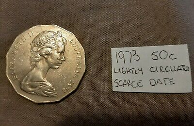 1973 Australian 50 cent Coin Low Mintage 50c Scarce coin