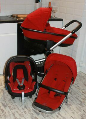 Lovely Red Black Buzz Xtra Pram Travel System 3 In 1 Maxi Cosi Car Seat