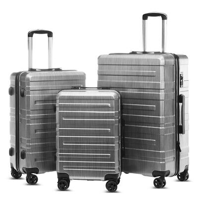 3pcs Lightweight Business Travel Suitcase Trolley Spinner Luggage Set TSA lock