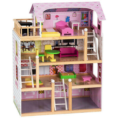 Kids Wooden Doll House with Furniture Cottage Playset Dollhouse Wood Kids Gift T