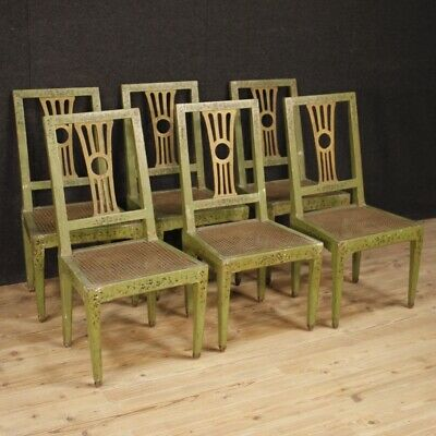 6 Chairs Furniture Chairs,Ancient for Living Room Wooden Lacquered Painting