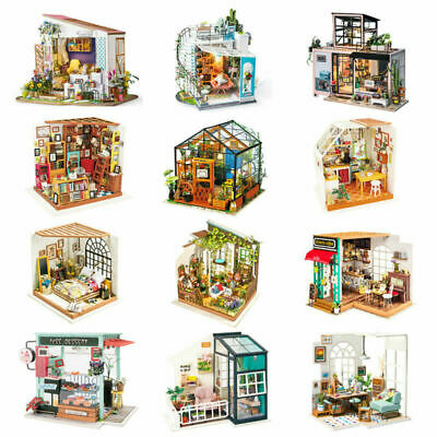 Wooden Dollhouse with Miniature Furniture LED DIY Toy Gift for Girl Kids UK