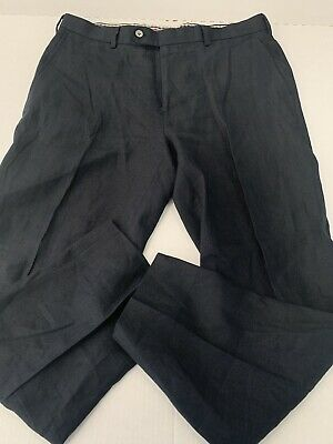 Brooks Brothers 1818 Dark Blue 100% Linen Fitzgerald Trousers 35 W 28 L