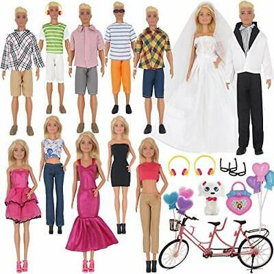 EuTengHao 30Pcs Doll Clothes and Accessories for Ken Doll and Barbie Doll