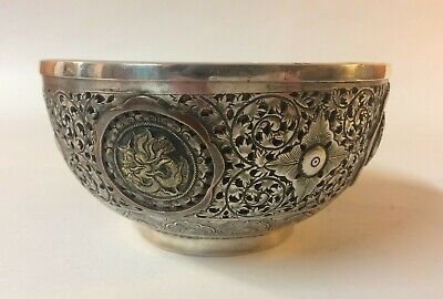 Antique Chinese Gilded Silver & Copper Bowl