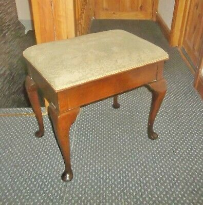Antique Oak Piano Stool With Queen Anne Legs  Lift Up Seat And Storage Below